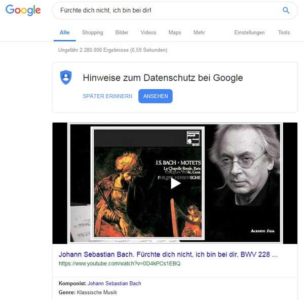 Ein Werk von Bach mit dem Titel
